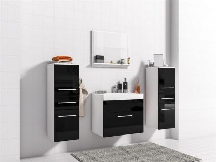 Badmöbel Set 5-Tlg Weiss matt / Schwarz HGL LIVO XS inkl.Waschtisch - Vorschau 2