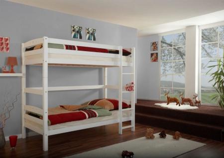 Hochbett Etagenbett OLI 2- Buche massiv Weiss- Extra hoch