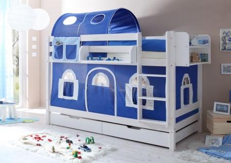 Einhängeregal Hoch- und Etagenbett gross mit zwei Böden weiss - Vorschau 2