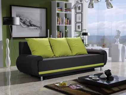 Sofa Designersofa MIKA 3-Sitzer mit Schlaffunktion Anthrazit- Limette