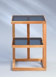 Beistelltisch Tisch SUMA 40x40 cm Walnuss massiv geölt / ESG Glas grau - Vorschau 2