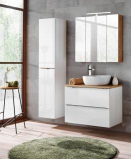 Badmöbel Set 4-tlg Badezimmerset PERUGIA Weiss ohne Waschbecken 80cm