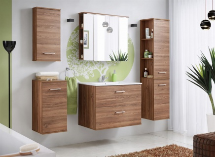 Badmöbel Set 5-tlg Badezimmerset ARMON Eiche inkl.Waschtisch 80 cm