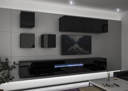 Mediawand Wohnwand 8 tlg - NEXI 10 - Schwarz Hochglanz inkl.LED