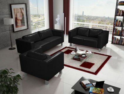 Sofa Set MAILAND 3-2-1 Sofagarnitur in Kunstleder Schwarz