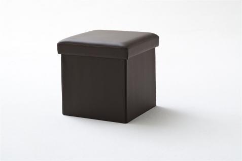 Sitzwürfel mit Deckel Hocker -SELL - Kunstleder Braun 40, 5x40, 5x40cm