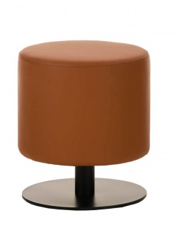 Sitzhocker - Max 2 - Hocker Rundhocker Kunstleder Hellbraun 38x38 cm