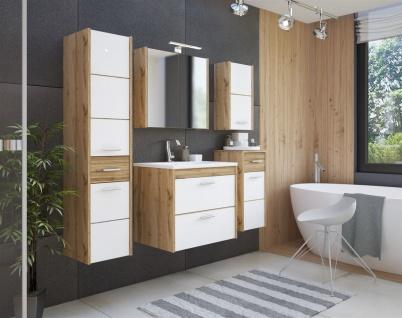 Badmöbel Set 5-tlg Badezimmerset OSLO Weiss inkl.Waschtisch 60 cm