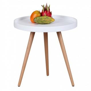 Beistelltisch Tisch ALVA 50x50 cm Weiss matt/ Buche