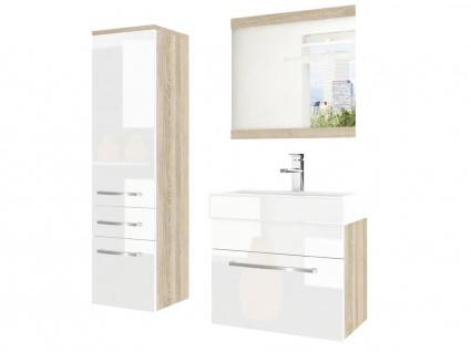 Badmöbel Set 3-tlg MARIO Set.2 Sonoma-Weiss HGL inkl.Waschtisch 50 cm