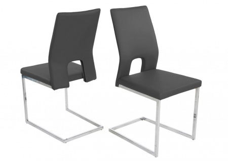 Esszimmerstühle Stühle Freischwinger 4er Set LAURO Kunstleder Grau