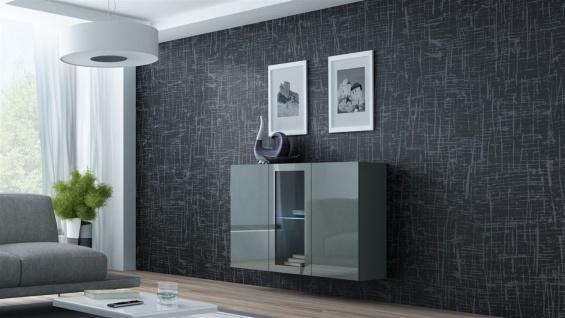 """Sideboard Hängesideboard """" LUGO"""" 120x38x90 cm Grau Hochglanz inkl. LED"""