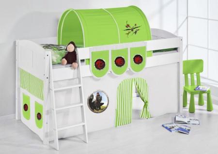 Spielbett Bett -LANDI - Dragon Grau -Teilbar -Kiefer Weis -mit Vorhang