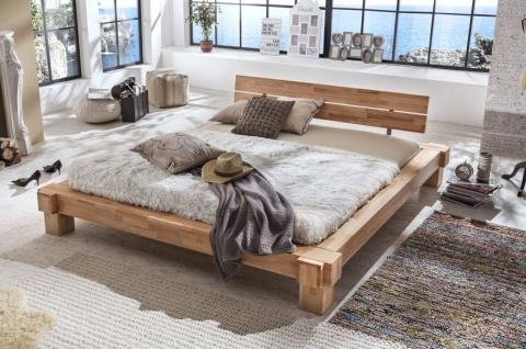 Balkenbett Futonbett Bett SORBON 200x200cm Massivholz Buche geölt