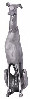 Dekoration Design Dog -Aluminium silbern Windhund Skulptur Hundestatue