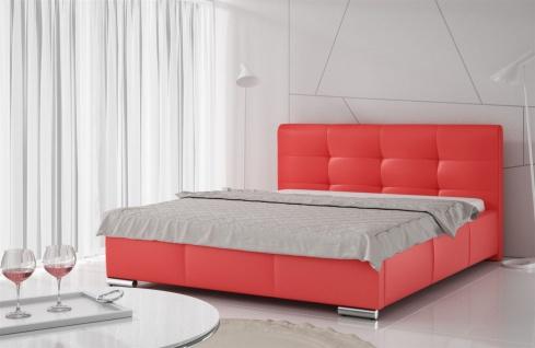 Polsterbett Bett Doppelbett TAYLOR Kunstleder Rot 160x200cm
