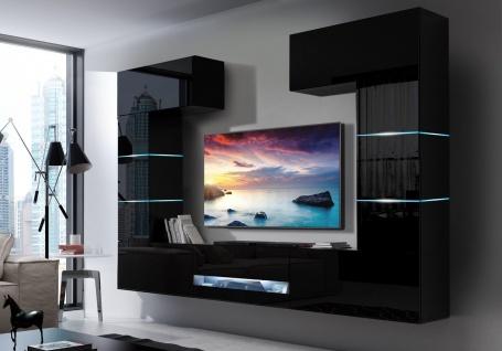 Mediawand Wohnwand 7 tlg - SENOX 9 - Schwarz Hochglanz inkl.LED