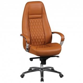 Drehstuhl Bürostuhl Chefsessel TEXAS -Echtleder Caramel