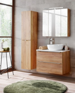 Badmöbel Set 4-tlg Badezimmerset PERUGIA Eiche ohne Waschbecken 80cm