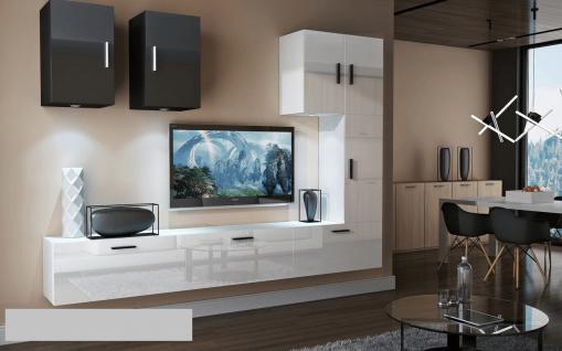 Mediawand Wohnwand 8 tlg - Bedox 4 - Weiss- Schwarz Hochglanz Nr.2+LED