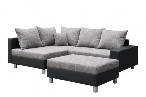 Couchgarnitur Allegra L-Form Schwarz-Grau inkl.Hocker/Ausführung Links