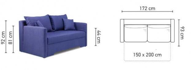 Sofa 2 Sitzer Mit Schlaffunktion Hannah Webstoff Marineblau Kaufen