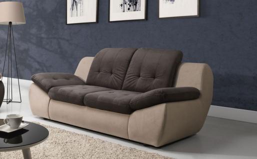 Sofa 3-Sitzer PEDRO Polyesterstoff Beige / Braun 205x84x113 cm