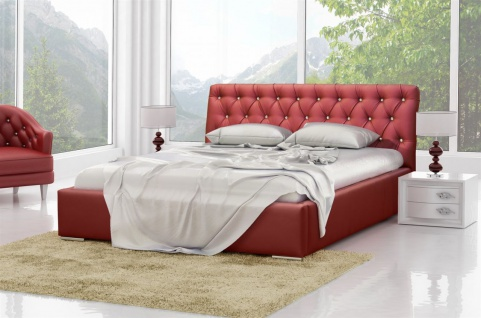 Polsterbett Doppelbett TRISTAN Komplettset Kunstleder Rot 180x200cm