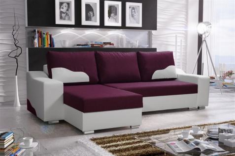 Ecksofa Sofa COLLIN mit Schlaffunktion Weiss / Violett Ottomane Links