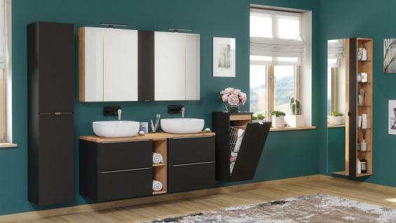 Badmöbel Set 10-tlg Badezimmerset PERUGIA Schwarz ohne Waschbecken