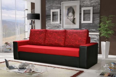 Sofa Designersofa LEEDS 3-Sitzer mit Schlaffunktion Schwarz / Rot