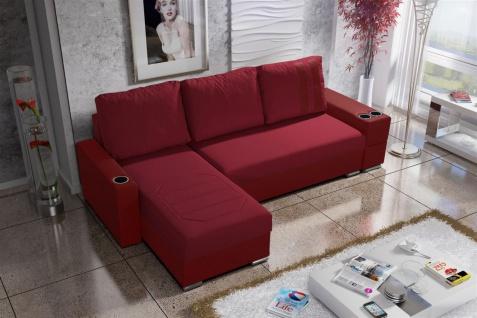 Ecksofa Sofa KNOX XL mit Schlaffunktion Rot Ottomane Links