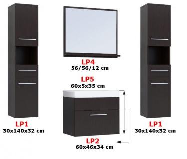 Badmöbel Set 5-Tlg Weiss / Schwarz Hochglanz LIVO XL inkl.Waschtisch - Vorschau 2