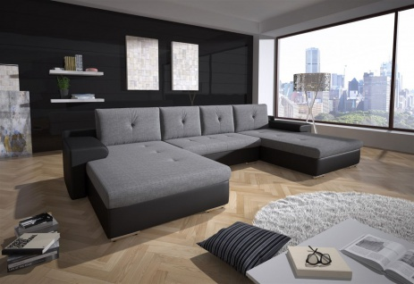 Couchgarnitur FLORENZ U-Form mit Schlaffunktion Schwarz / Hellgrau
