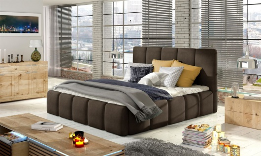 Polsterbett Bett VERONA Komplettset Polyesterstoff Braun 180x200cm
