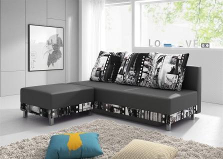 Sofa Schlafsofa KIRA inklusive Bettkasten und Hocker Dunkelgrau