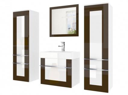 Badmöbel Set 4-tlg DAWINO Set.5 Kastanien-Weiss inkl.Waschtisch 50 cm