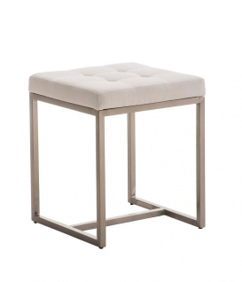 Sitzhocker - BRIT - Schminkhocker Hocker Sessel Stoff Weiss 40x40 cm