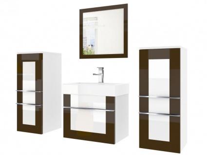 Badmöbel Set 4-tlg DAWINO Set.3 Kastanien-Weiss inkl.Waschtisch 50 cm - Vorschau