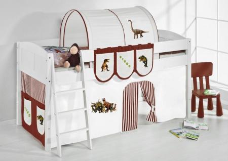 Spielbett Bett -LANDI - Dino Braun -Teilbar - Kiefer Weis-mit Vorhang