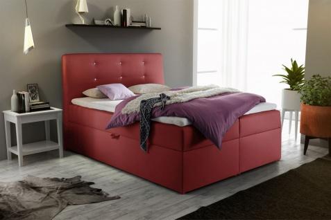 Boxspringbett Schlafzimmerbett MONZA Kunstleder Rot 180x200 cm