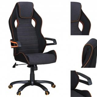 Drehstuhl Bürostuhl Chefsessel BOLD Stoff- Schwarz / Grau