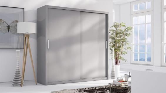 Schiebetürenschrank Schrank LUND Grau matt 200x215 cm