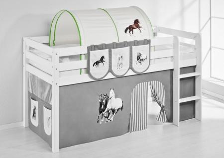 Tunnel Pferde Grün - für Hochbett. Spielbett und Etagenbett