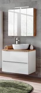 Badmöbel Set 3-tlg Badezimmerset PERUGIA Weiss ohne Waschbecken 80cm