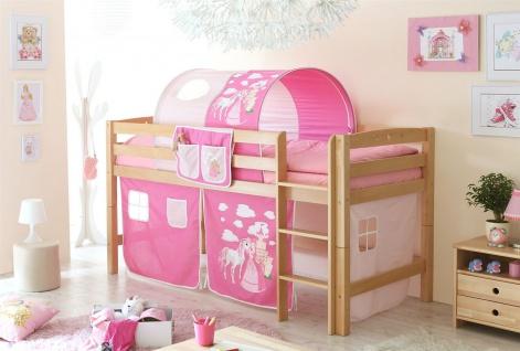 Spielbett Hochbett TOBY R- Buche Massiv inkl.Vorhang Prinzessin- Pink