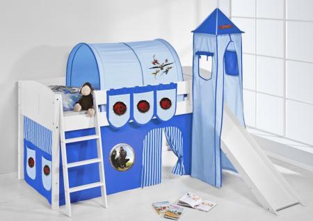 Spielbett mit Rutsche, Turm, Vorhang -LANDI/S -Dragons Blau-Kiefer Weiss