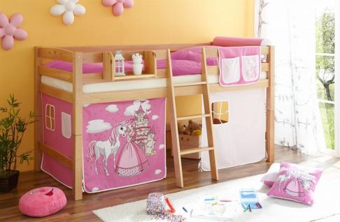 Hochbett Spielbett TORBI -Buche massiv Natur + Vorhang Prinzessin Pink