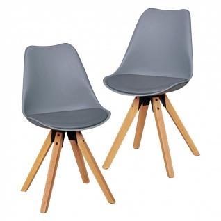 Esszimmerstühle Stühle Vierfußstuhl 2er-Set LEVI Grau /Rubberwood