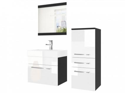 Badmöbel Set 3-tlg MARIO Set.1 Schwarz-Weiß HGL inkl.Waschtisch 50 cm